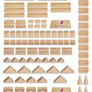 """Zestaw drewnianych klocków modularnych do """"Konstrukcji"""""""